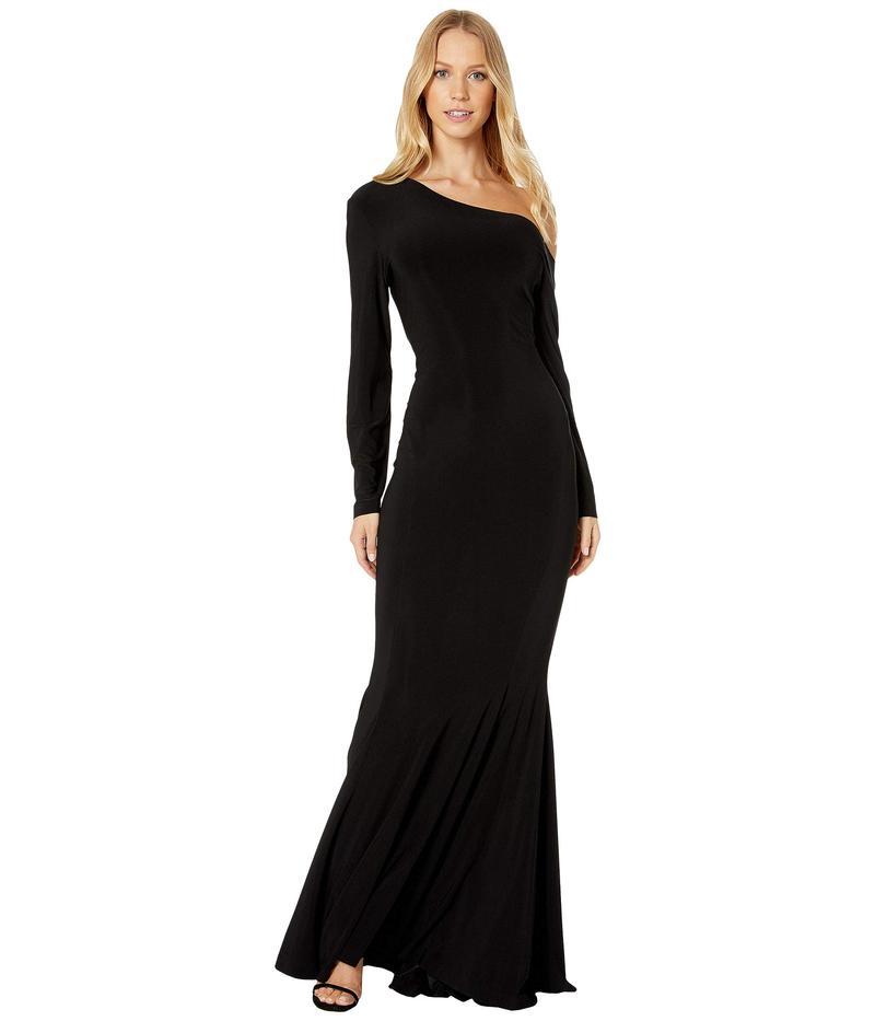 カマリカルチャー レディース ワンピース トップス Long Sleeve Drop Shoulder Fishtail Gown Black