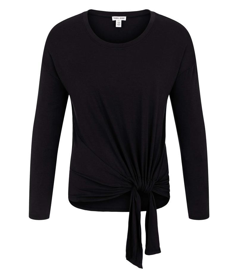 トリバル レディース シャツ トップス Long Sleeve Top w/ Adjustable Knot Black