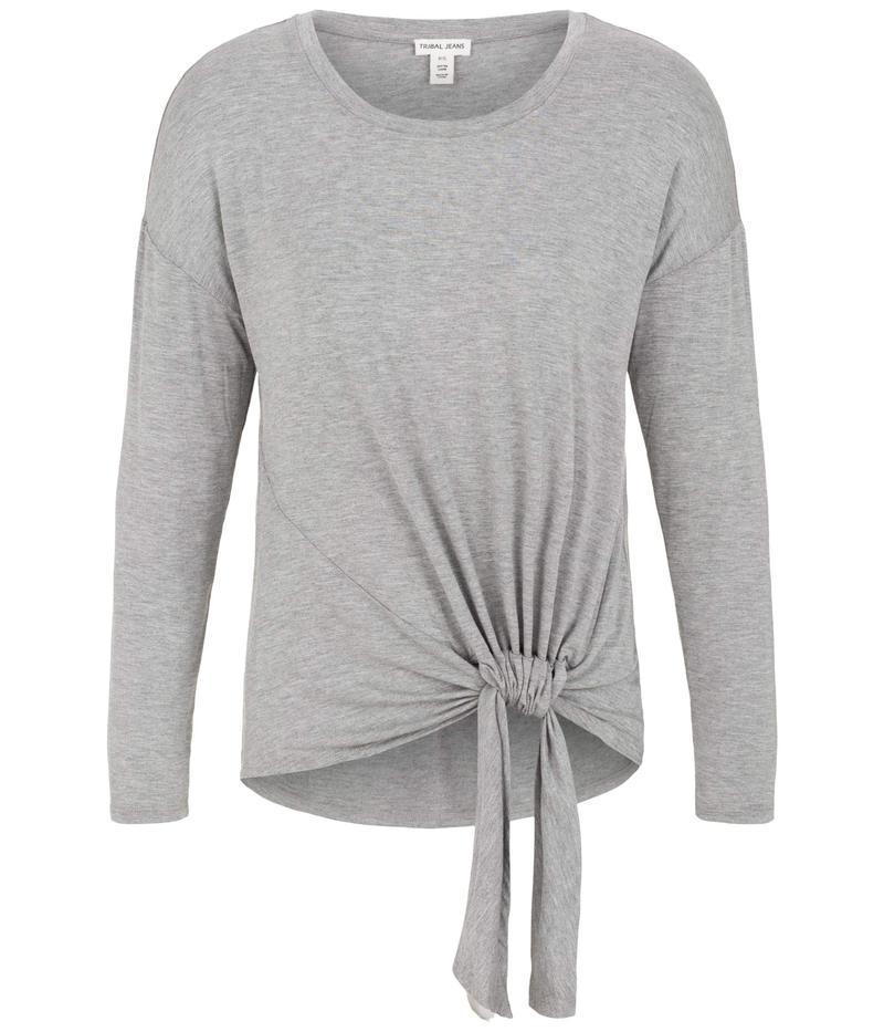 トリバル レディース シャツ トップス Long Sleeve Top w/ Adjustable Knot Grey Mix