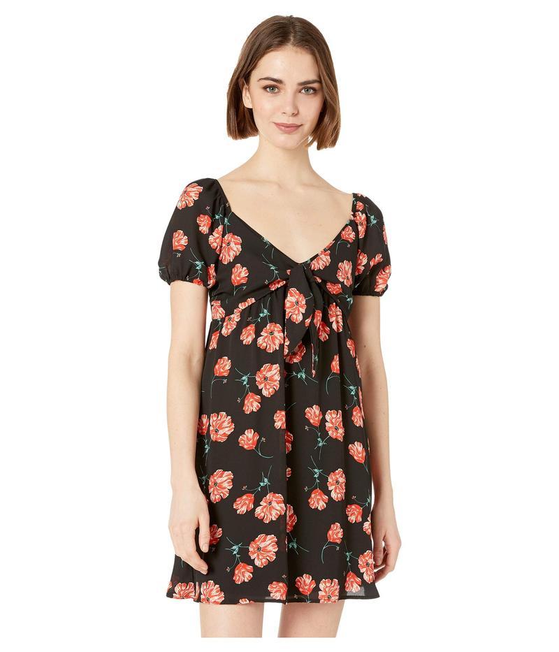 ビービーダコタ レディース ワンピース トップス Pretty in Poppies Printed Tie Front Dress Black