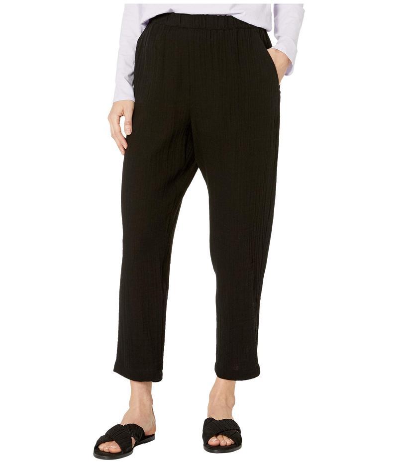 エイリーンフィッシャー レディース カジュアルパンツ ボトムス Organic Cotton Lofty Gauze Tapered Ankle Pants Black
