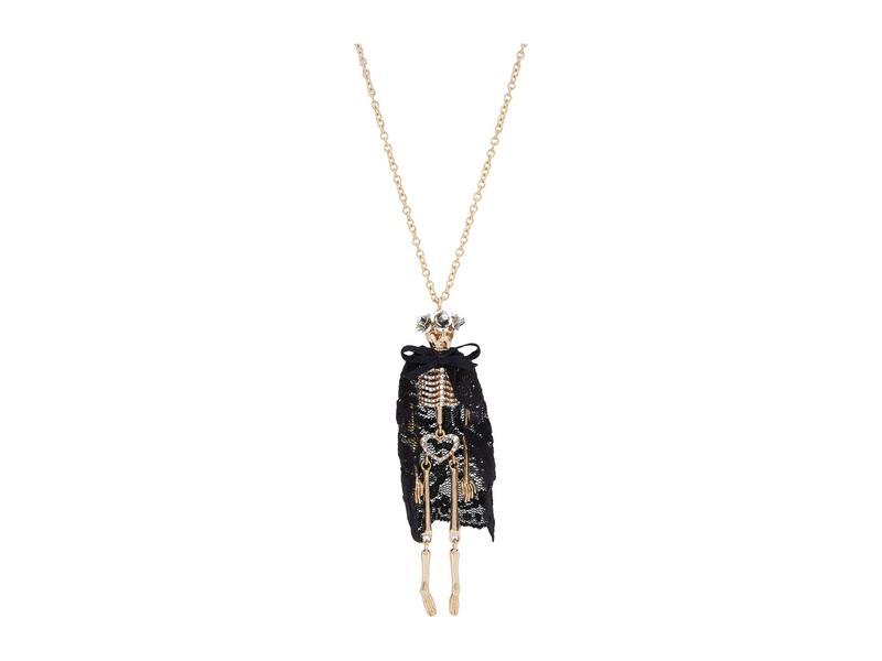 ベッツィジョンソン レディース ネックレス・チョーカー・ペンダントトップ アクセサリー Pave Skeleton Long Pendant Necklace Black