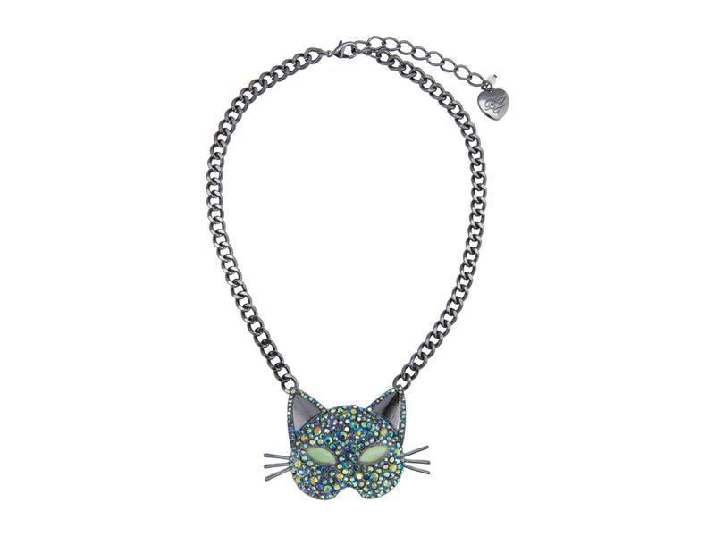 ベッツィジョンソン レディース ネックレス・チョーカー・ペンダントトップ アクセサリー Pave Cat Pendant Necklace Black