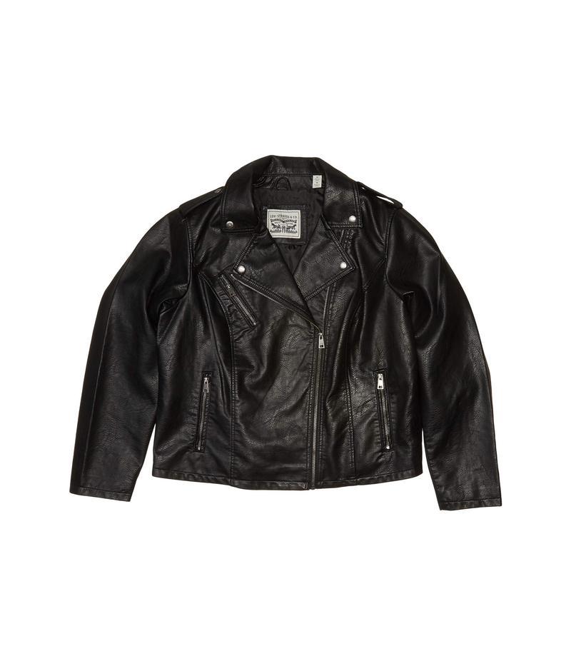 送料無料 サイズ交換無料 リーバイス 定番キャンバス レディース アウター コート Black Plus Jacket Size Asymmetrical Faux Classic Motorcycle 送料無料 激安 お買い得 キ゛フト Leather
