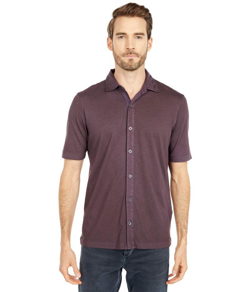 モッドドック メンズ シャツ トップス Dana Point Short Sleeve Button Front Shirt Black Plum