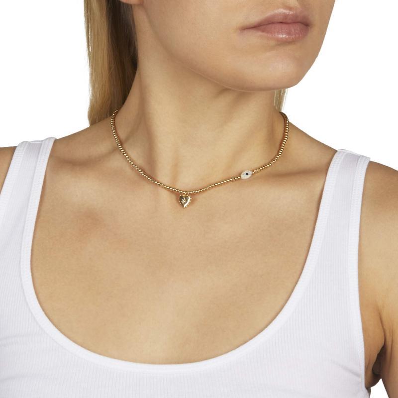 レベッカミンコフ レディース ネックレス・チョーカー・ペンダントトップ アクセサリー Gold Beaded Necklace with Studded Heart & Evil Eye Charm Gold/Multi