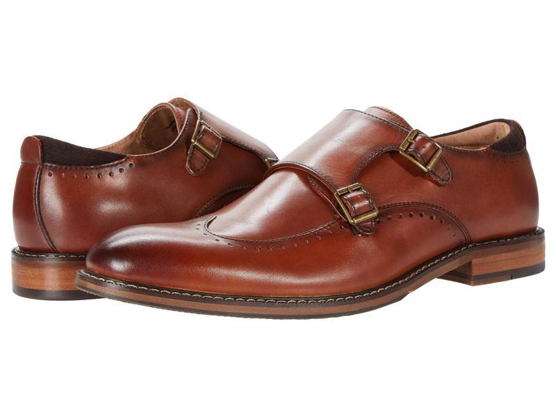 ステイシーアダムス メンズ オックスフォード シューズ Farwell Wing Tip Double Monk Strap Cognac