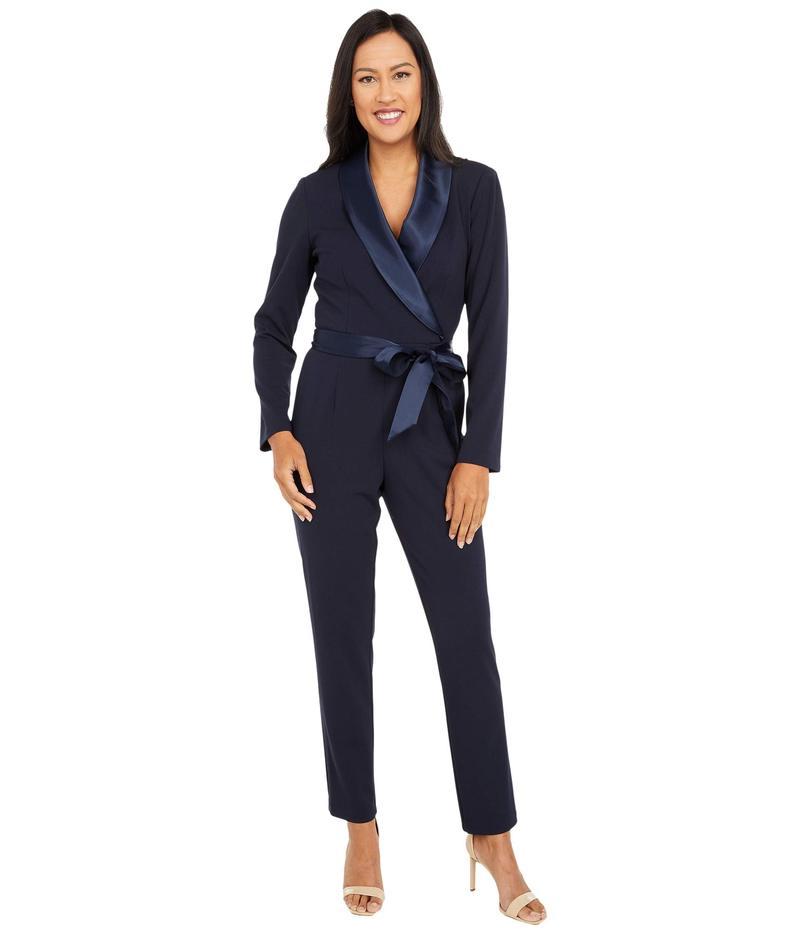 【好評にて期間延長】 アドリアナ パペル レディース ジャンプスーツ トップス Knit Crepe Wrap Top Jumpsuit with Long Sleeves, Slim Pants, and Stretch Charmeuse Collar Midnight, アトラクト dd6fb02b