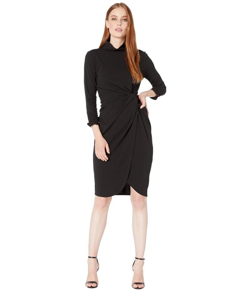 タハリ レディース ワンピース トップス Stretch Crepe Mock Neck Dress with Side Wrap and Cinched Sleeve Detail Black:ReVida 店