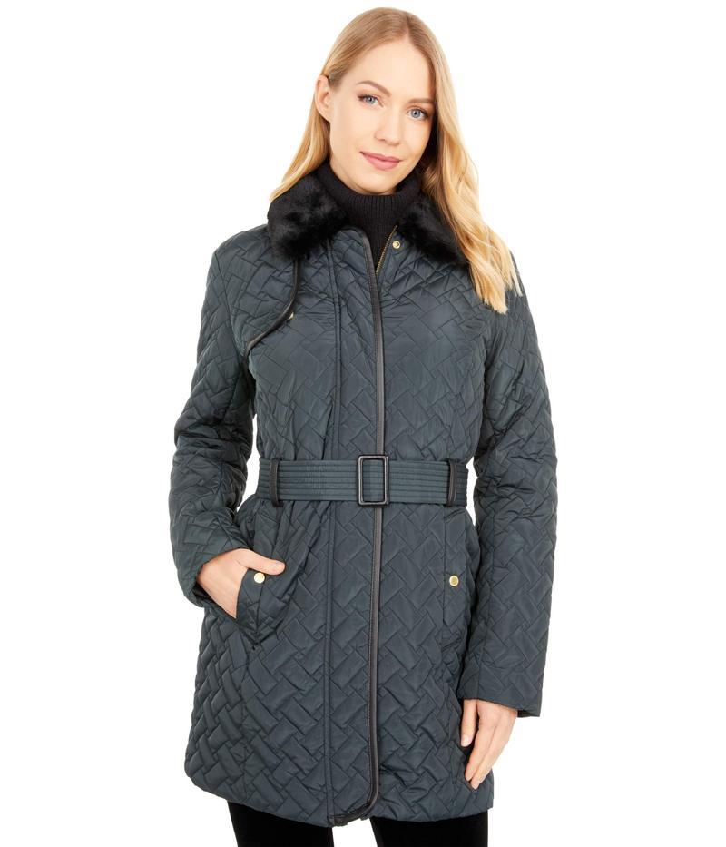 送料無料 記念日 メーカー直売 サイズ交換無料 コールハーン レディース アウター コート Emerald Collar Faux Fur Jacket Belted with
