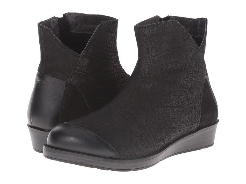 ナオト レディース ブーツ・レインブーツ シューズ Loyal Black Crackle Leather/Shiny Black Leather