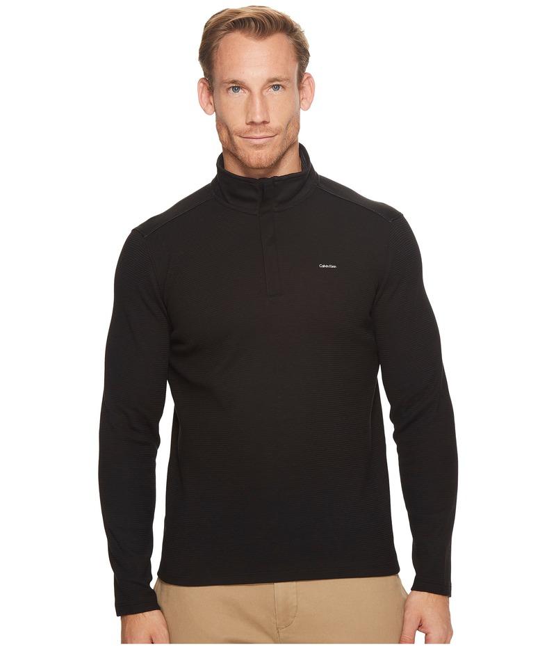 カルバンクライン メンズ ニット・セーター アウター Jacquard Mock Neck 1/4 Zip Sweater Black