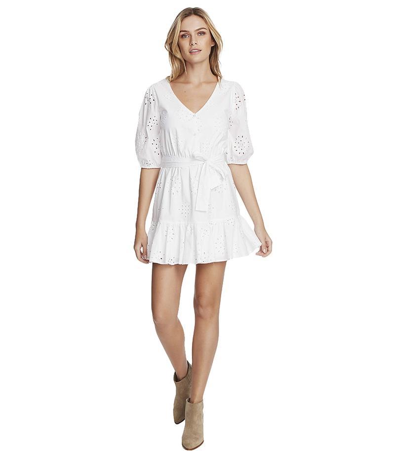 100%正規品 ワンステイト レディース ワンピース トップス Cotton Eyelet Button Front Tie Waist Dress Ultra White, エフェクターマニア 4fe70b96