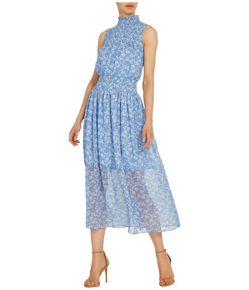 2020年秋冬新作 モニーク ルイリエ レディース ワンピース Midi トップス Sleeveless Floral Combo Printed モニーク Midi Dress w/ Smocking White/Cornflower Combo, ホットとクールのお店 さきっちょ:5fd51733 --- promotime.lt