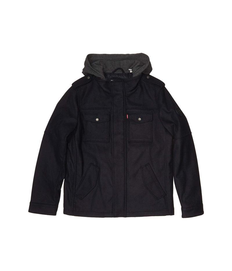 リーバイス メンズ コート アウター Wool Blend Trucker Jacket w/ Jersey Hood Navy