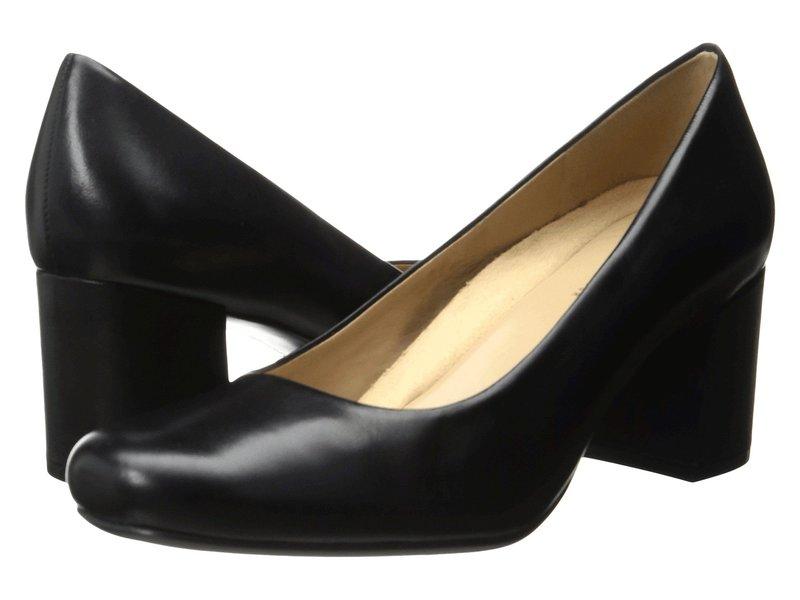送料無料 捧呈 サイズ交換無料 ナチュライザー レディース シューズ Black Whitney ヒール プレゼント Leather
