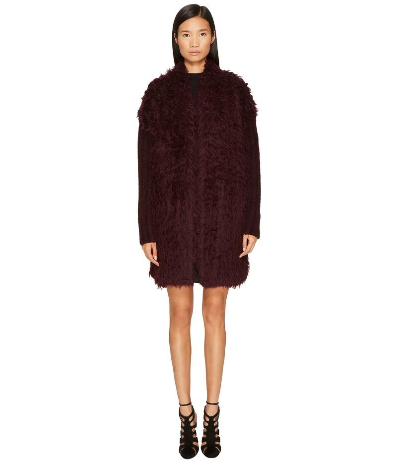 ジャストカバリ レディース コート アウター Long Sleeve Fluffy Alpaca Wool Jacket Bordeaux