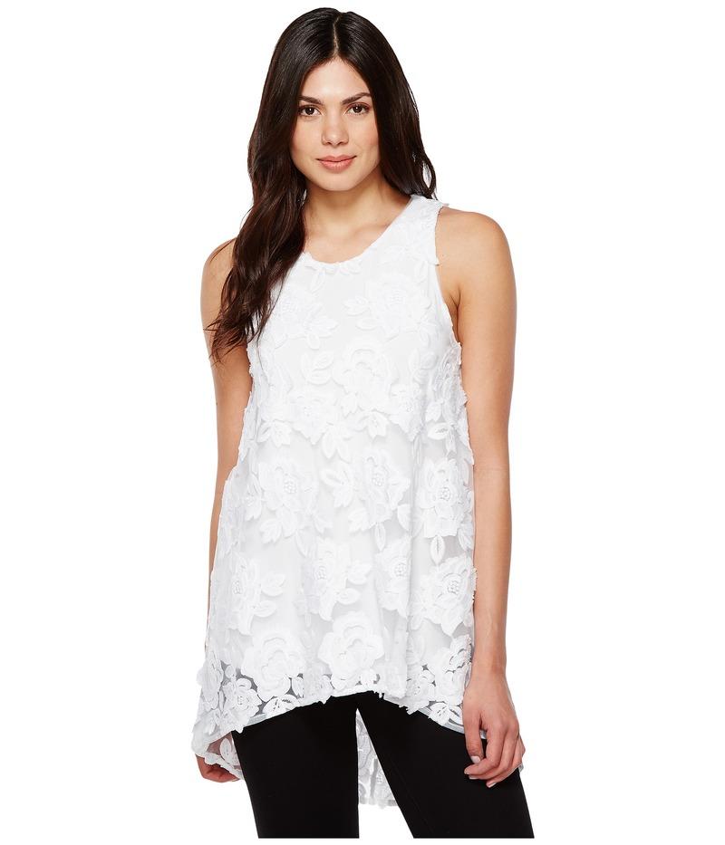 ヴィンスカムート レディース シャツ トップス Sleeveless High-Low Hem Floral Mesh Blouse Ultra White