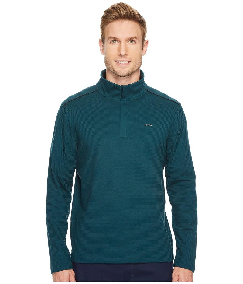 カルバンクライン メンズ ニット・セーター アウター Jacquard Mock Neck 1/4 Zip Sweater Midnight Green