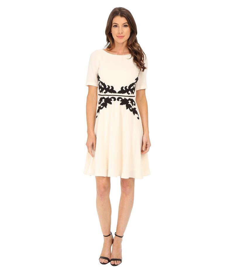 アドリアナ パペル レディース ワンピース トップス Applique Fit and Flare Dress Cream/Black