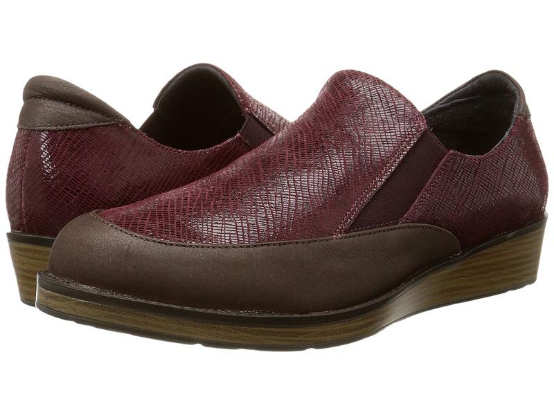 ナオト レディース スリッポン・ローファー シューズ Cherish Brown Shimmer Nubuck/Reptile Burgundy Leather