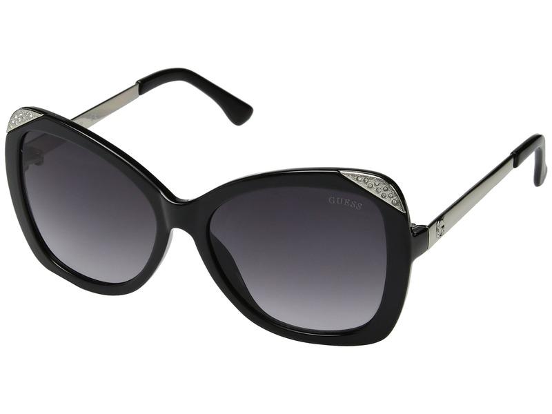 ゲス メンズ サングラス・アイウェア アクセサリー GF6055 Shiny Black with Silver/Smoke Gradient Lens