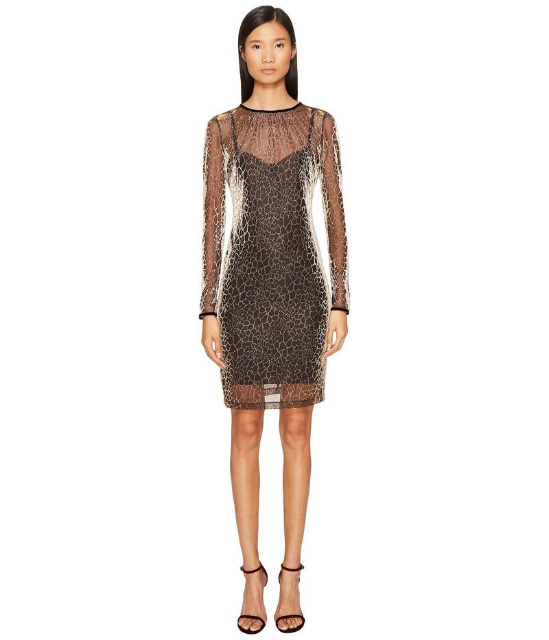 ジャストカバリ レディース ワンピース トップス Long Sleeve Cheetah Print Overlay Dress Gold Variant