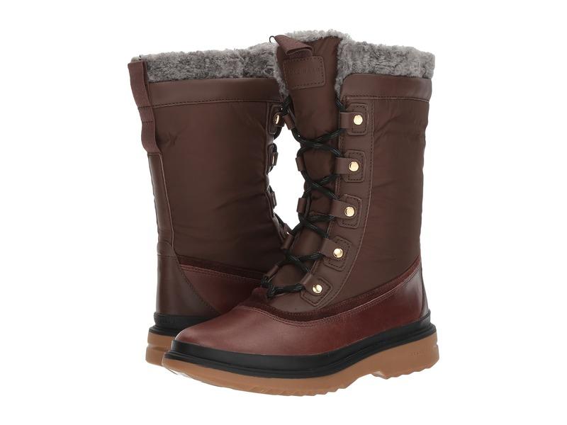コールハーン レディース ブーツ・レインブーツ シューズ Millbridge Lace-Up Boot Waterproof Chestnut Leather Waterproof/Gray Pinstripe Faux Shearling