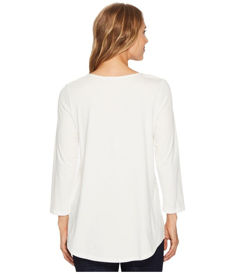 モッドドック レディース シャツ トップス Deluxe Jersey Lace Overlay 3 4 Sleeve Tee ChalkVGLzqSMpU