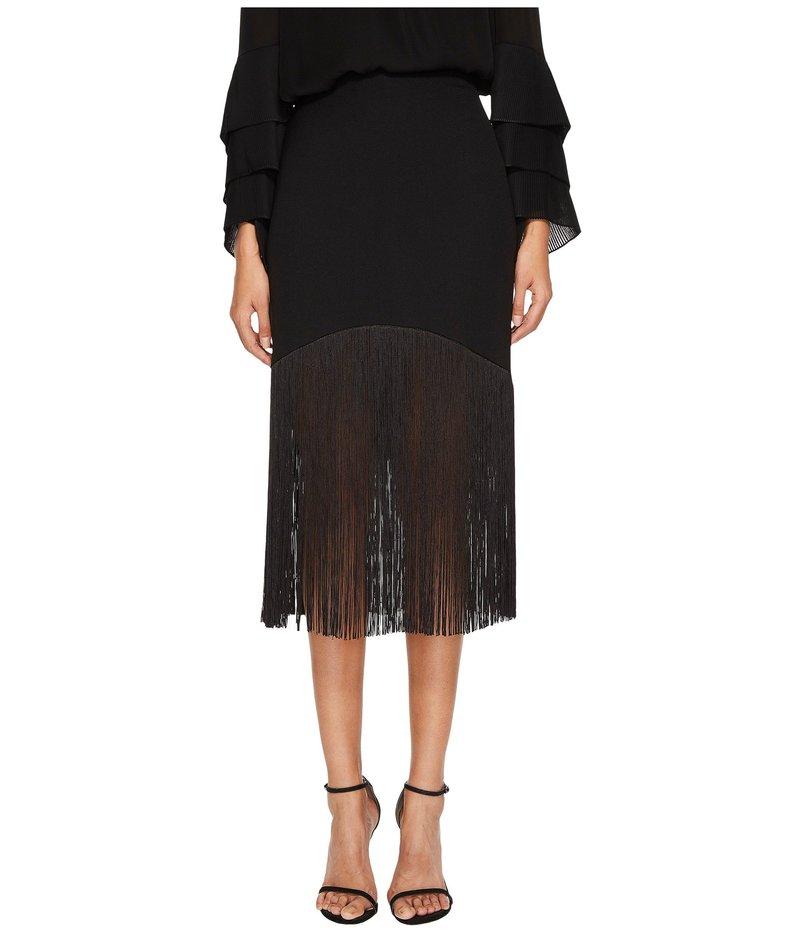 プラバルグラング レディース スカート ボトムス Polycrepe Fringe Skirt Black