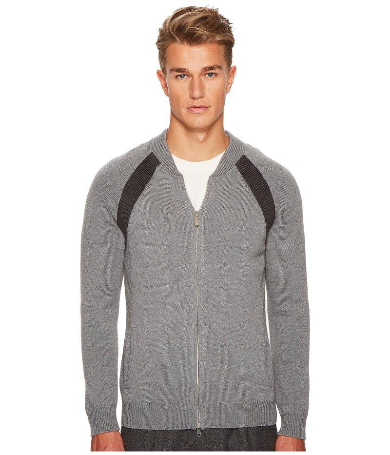 イレブンティ メンズ ニット・セーター アウター Raglan Sleeve Zip College Sweater Grey/Dark Grey