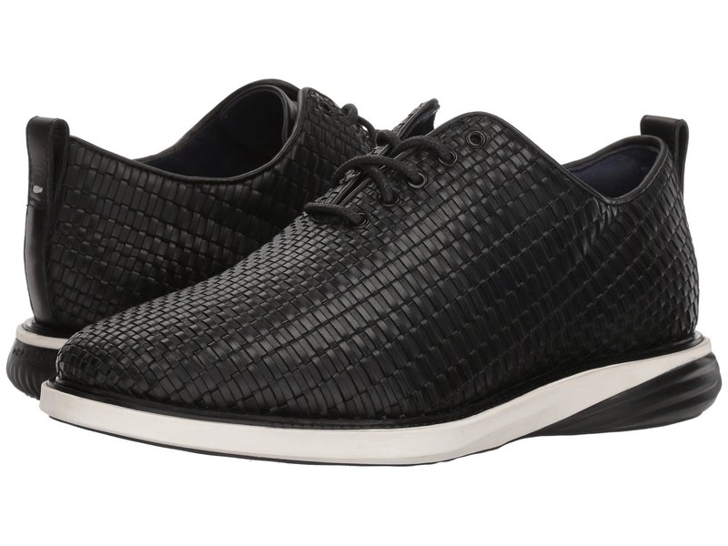 コールハーン メンズ オックスフォード シューズ Grand Evolution Woven Oxford Black Woven Leather/Ivory/Black