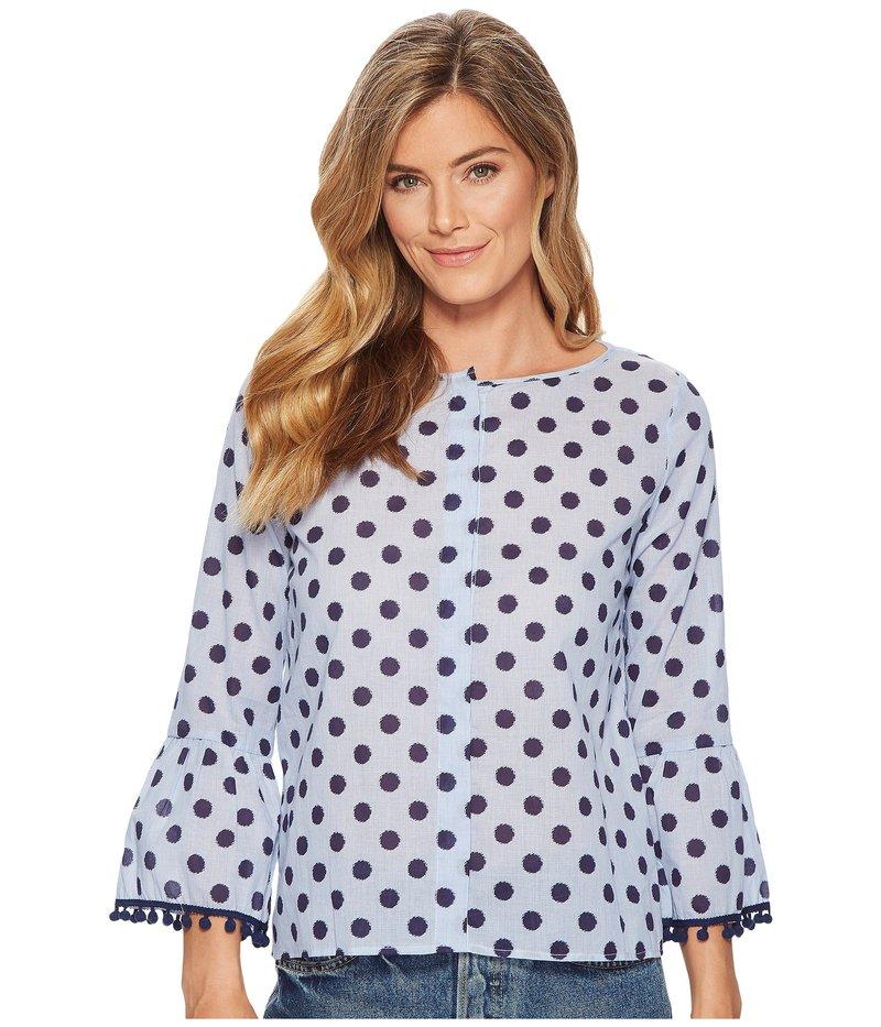 エリオットローレン レディース シャツ トップス Dot Shirt with Flare Sleeve and Pom Pom Trim Detail Blue