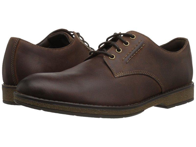 クラークス メンズ オックスフォード シューズ Hinman Plain Mahogany Leather