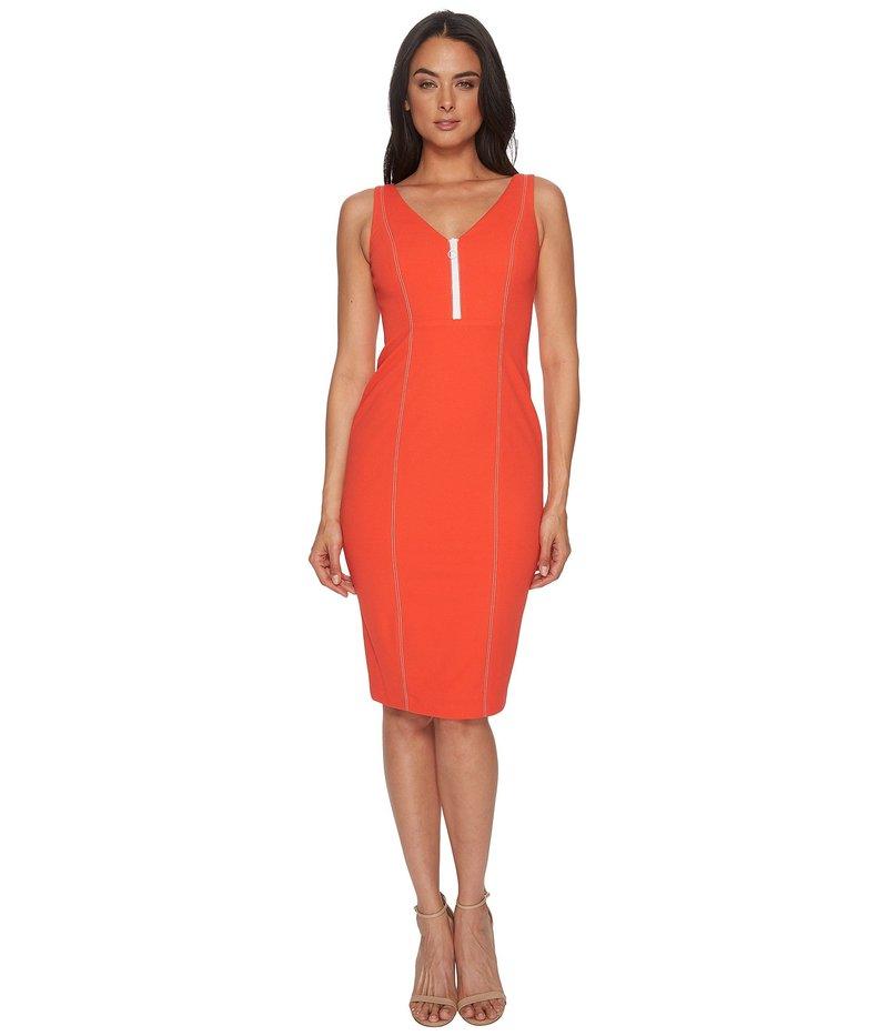 ドナモーガン レディース ワンピース トップス Sleeveless Crepe V-Neck Dress with Front Zipper Scarlet Red