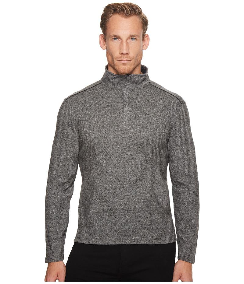 カルバンクライン メンズ ニット・セーター アウター Jacquard Mock Neck 1/4 Zip Sweater Marled Black