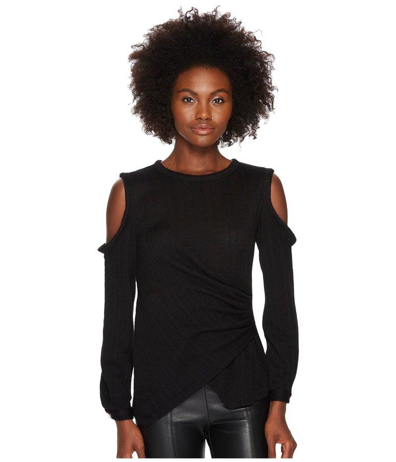 イエガルズロール レディース シャツ トップス Star Knit Jacquard Cold Shoulder Top Black