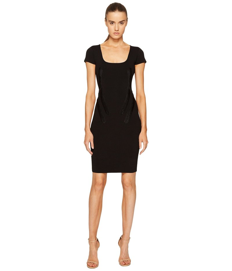 ザックポーゼン レディース ワンピース トップス Rib Knit Scoop Neck Short Sleeve Dress Black