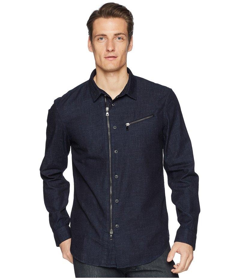ジョンバルベイトス メンズ シャツ トップス Washed Slim Fit Zip-Up Shirt W532U1 Indigo