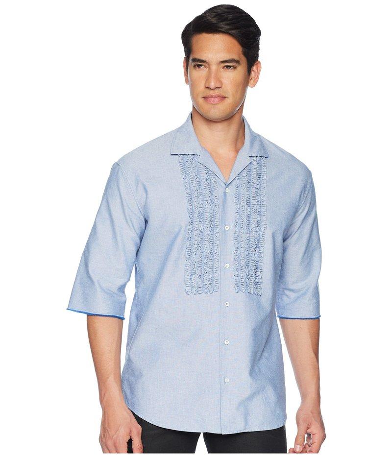 ディースクエアード メンズ シャツ トップス Ruffled Roll Up Shirt Blue