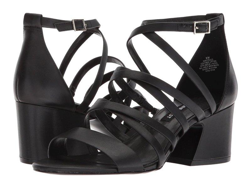 ナインウェスト レディース ヒール シューズ Youlo Strappy Block Heel Sandal Black Leather