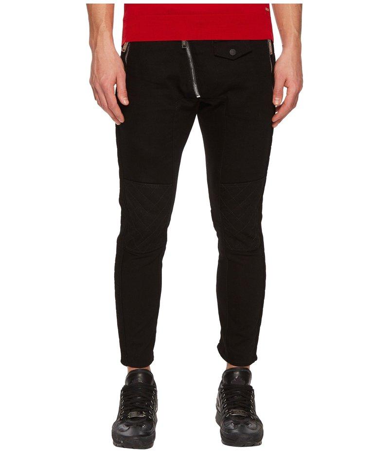 ディースクエアード メンズ デニムパンツ ボトムス Leather Biker Fit Jeans Black