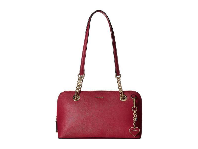 カルバンクライン レディース ハンドバッグ バッグ Saffiano Leather Satchel Pomegranate