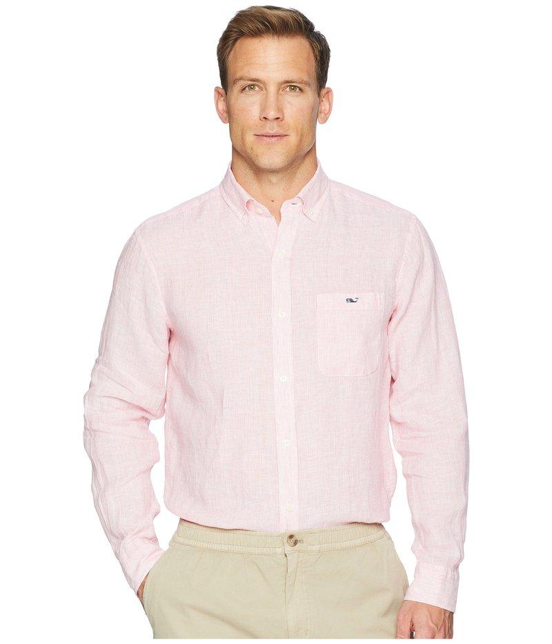ヴァインヤードヴァインズ メンズ シャツ トップス Cooper's Town Stripe Classic Linen Tucker Shirt Sunset Pink