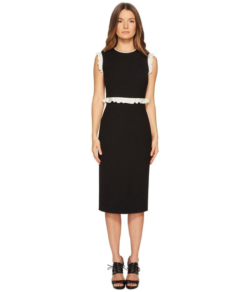 レッドヴァレンティノ レディース ワンピース トップス Cady Tech Dress with Contrast Crepe De Chine Ruffle Black/Ivory