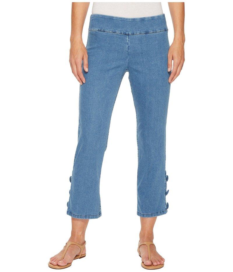 エリオットローレン レディース デニムパンツ ボトムス Stretch Denim Pull-On Crop Pants with Covered Button Indigo Blue
