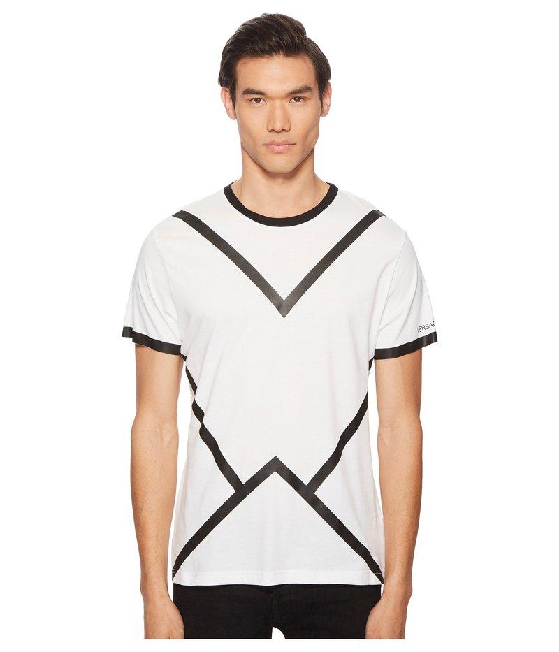 ヴェルサーチ メンズ シャツ トップス Black Line Tee Shirt White
