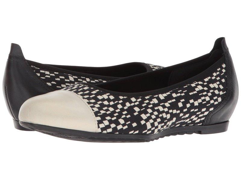 ムンロー レディース サンダル シューズ Henlee Black/White Fabric/Pearl Leather
