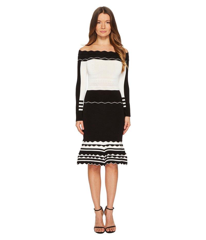 イエガルズロール レディース ワンピース トップス Black and White Striped Off Shoulder Knit Dress Jet/Optic