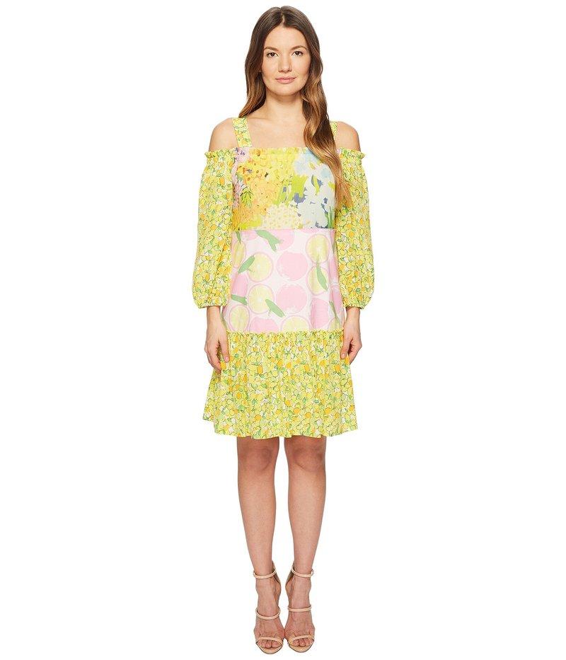 ブティックモスキーノ レディース ワンピース トップス Patchwork Print Dress with Cold Shoulder Sleeves Fantasy Print Yellow